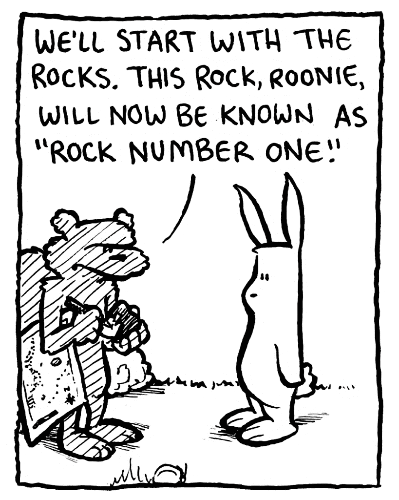 """FLYNN: We'll start with the rocks. This rock, Roonie, will now be known as """"Rock Number One."""""""