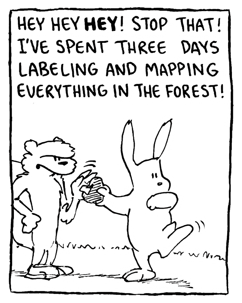 FLYNN: Hey hey HEY! Stop that! I've spent three days labeling and mapping everything in the forest!