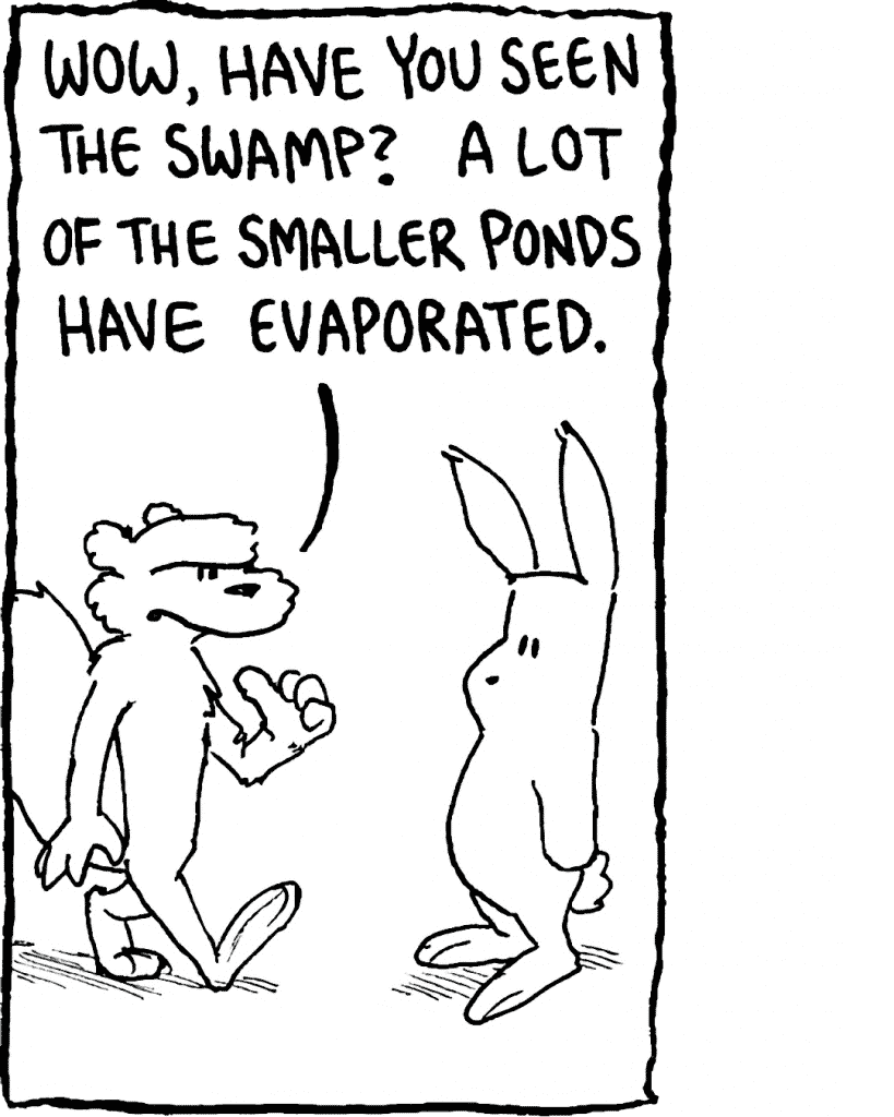 FLYNN: Wow, have you seen the swamp? A lot of the smaller ponds have evaporated.