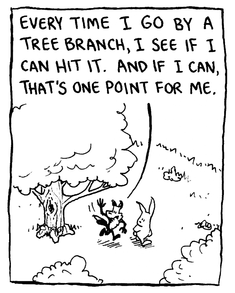 PITTMAN: Every time I go by a tree branch, I see if I can hit it. And if I can, that's one point for me.