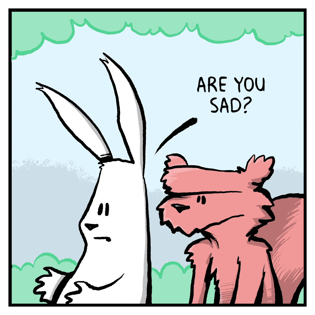 ROONIE THE RABBIT: Are you sad?
