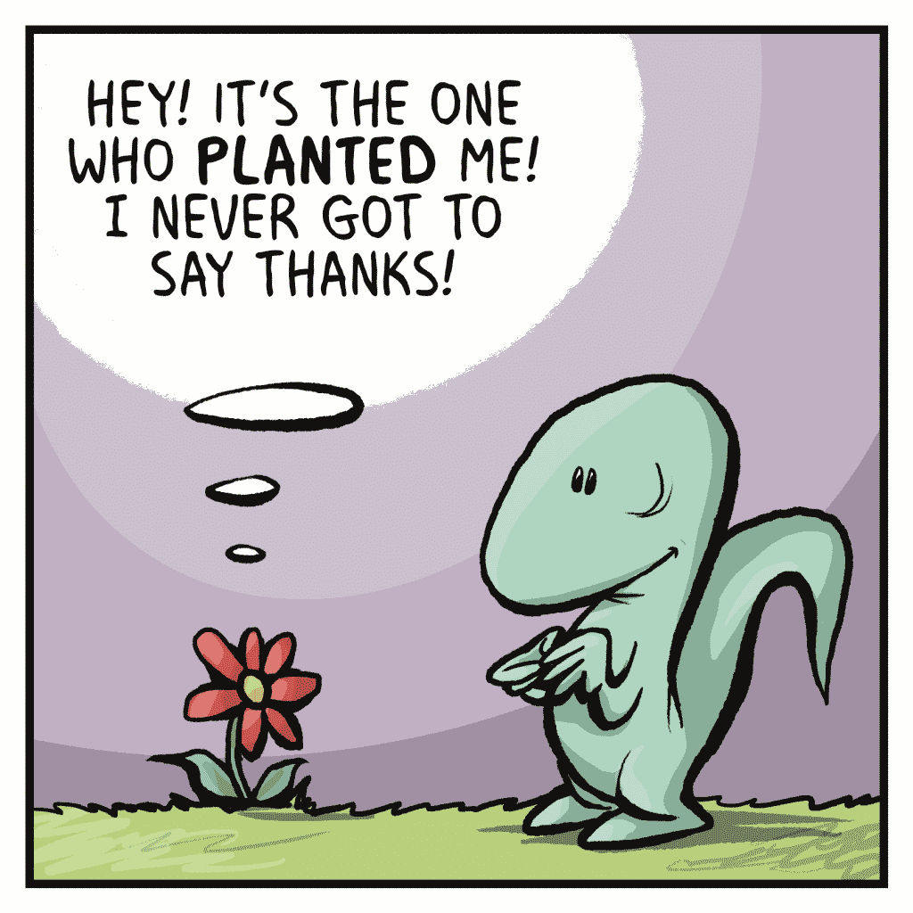 FLOWER: Hey! It's the one who PLANTED me! I never got to say thanks!